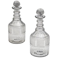 Fine Pair of Slice and Diamond Cut Regency Decanters
