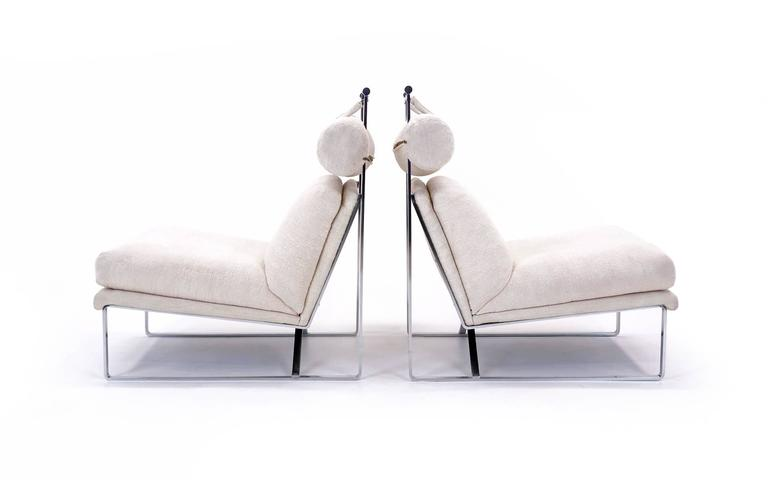 Pair of Large-Scale Lounge Chairs with One Ottoman in the Style of Milo Baughman 3