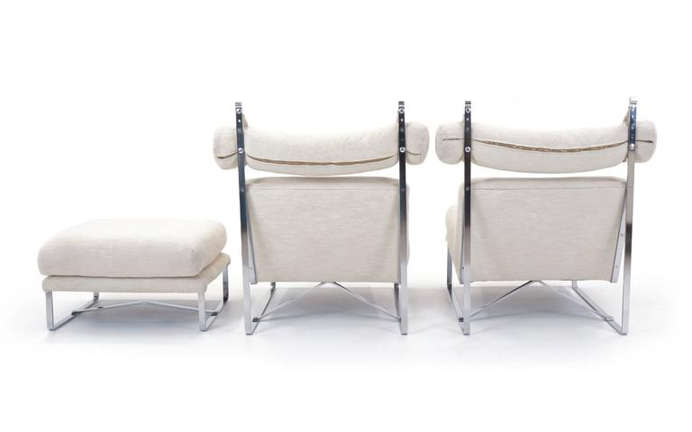 Pair of Large-Scale Lounge Chairs with One Ottoman in the Style of Milo Baughman 4