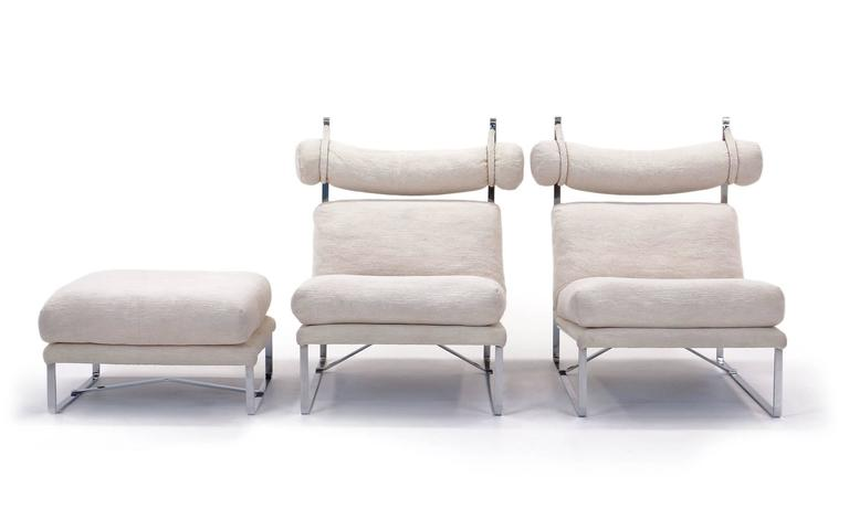 Pair of Large-Scale Lounge Chairs with One Ottoman in the Style of Milo Baughman 2