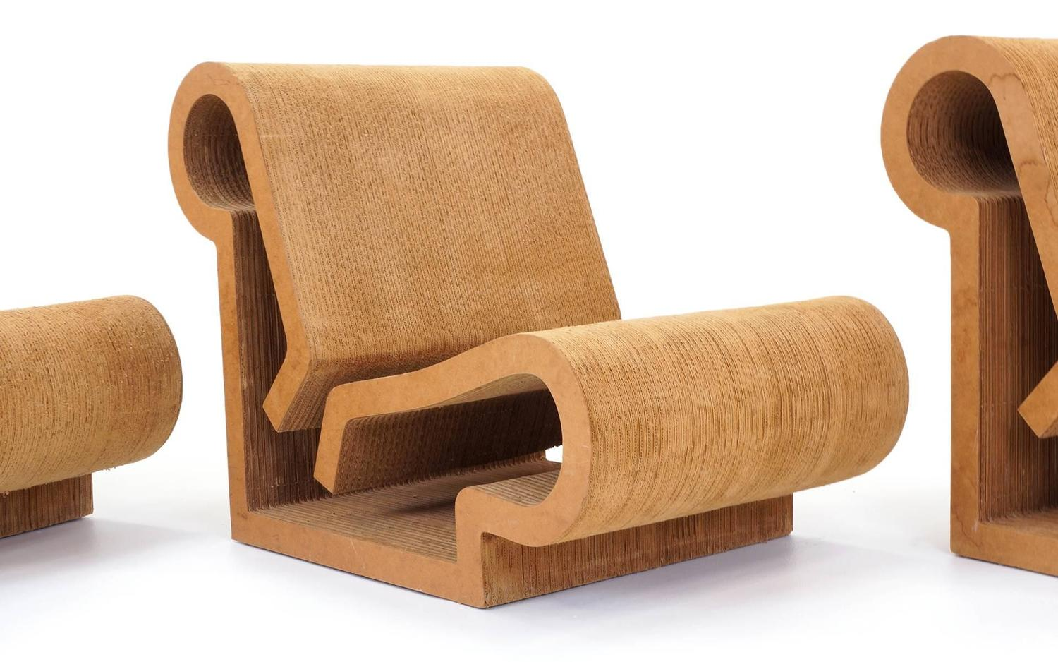 Rare Original Frank Gehry Easy Edges Cardboard Contour Chairs At 1stdibs