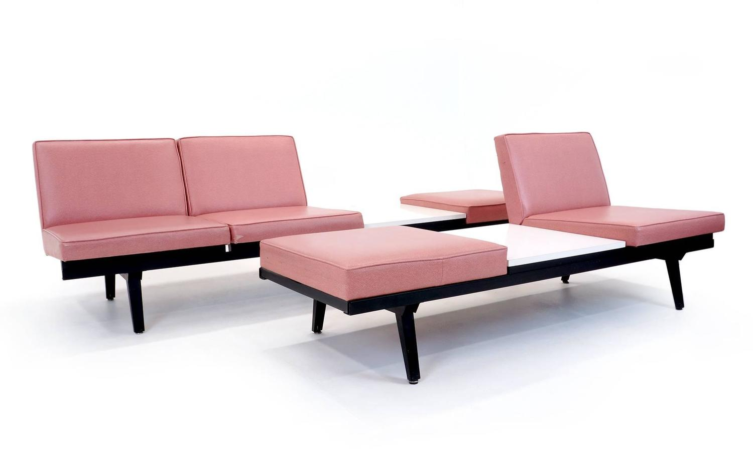 Pair Of George Nelson For Herman Miller Steel Frame Sofas Modular Seating At 1stdibs