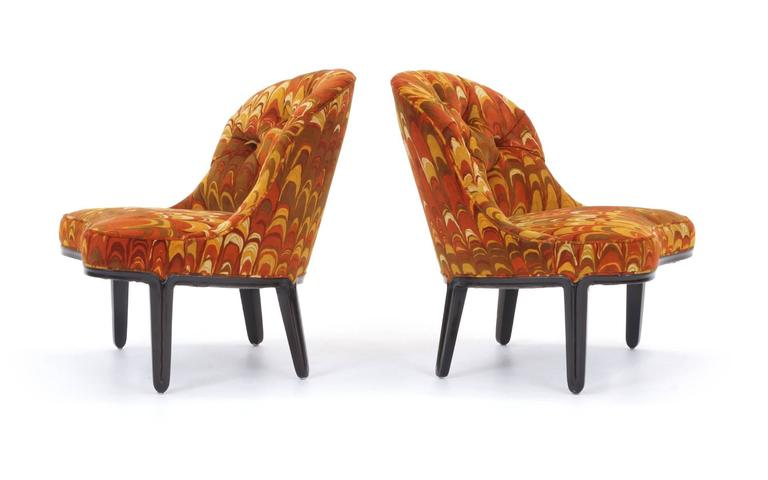 Mahogany Four Janus Chairs Edward Wormley for Dunbar. Original Jack Lenor Larsen Fabric For Sale