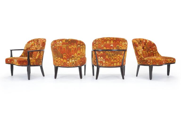 Rare set of four Janus chairs, two armchairs and two armless chairs, in the original and amazing Jack Lenor Larsen orange patterned fabric. Condition overall is excellent. The foam in the armless chairs is stiffer than the armchairs, but not