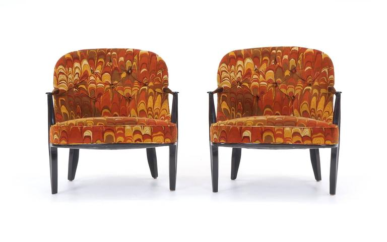 American Four Janus Chairs Edward Wormley for Dunbar. Original Jack Lenor Larsen Fabric For Sale