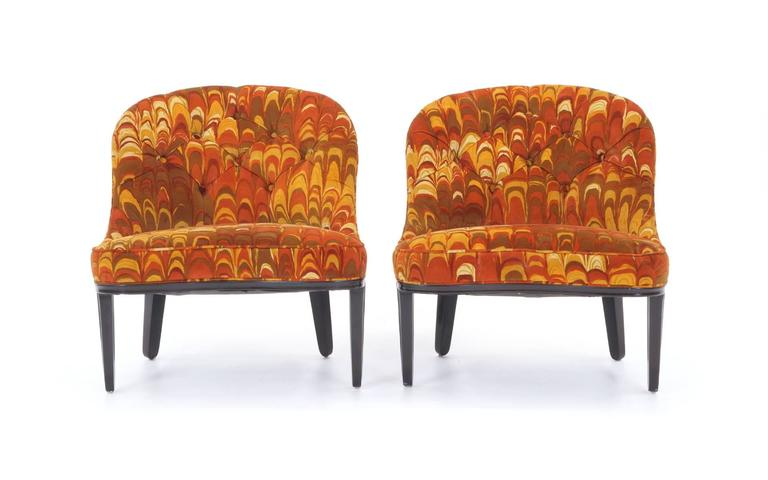 Mid-20th Century Four Janus Chairs Edward Wormley for Dunbar. Original Jack Lenor Larsen Fabric For Sale