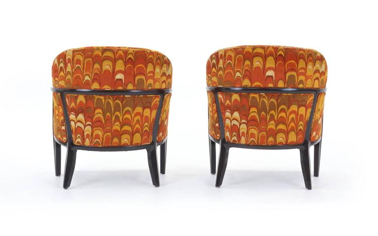 Four Janus Chairs Edward Wormley for Dunbar. Original Jack Lenor Larsen Fabric In Excellent Condition For Sale In Kansas City, MO