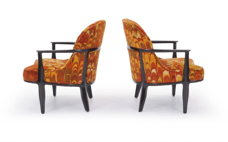 Mid-Century Modern Four Janus Chairs Edward Wormley for Dunbar. Original Jack Lenor Larsen Fabric For Sale