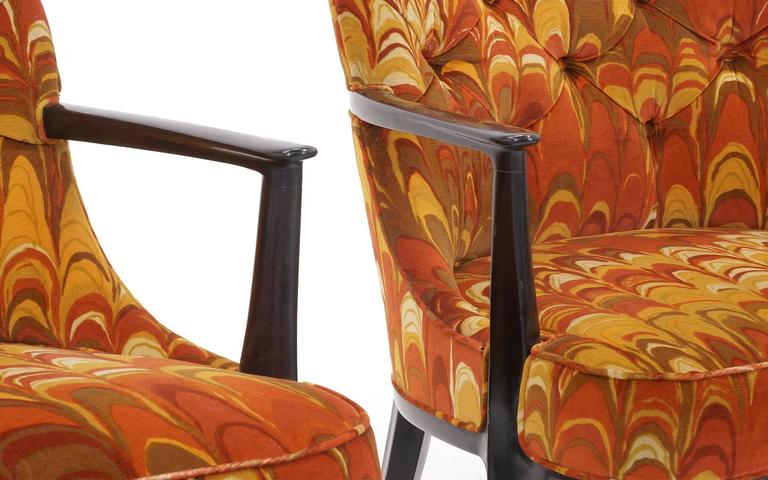 Four Janus Chairs Edward Wormley for Dunbar. Original Jack Lenor Larsen Fabric For Sale 1