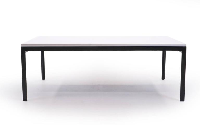 Signed Florence Knoll Cocktail Table. Original White Laminate And Lacquered  Steel Legs And Frame.