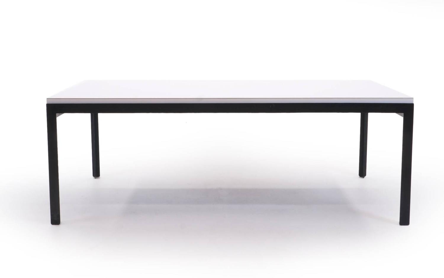 Florence Knoll Coffee Table White Laminate Black Steel