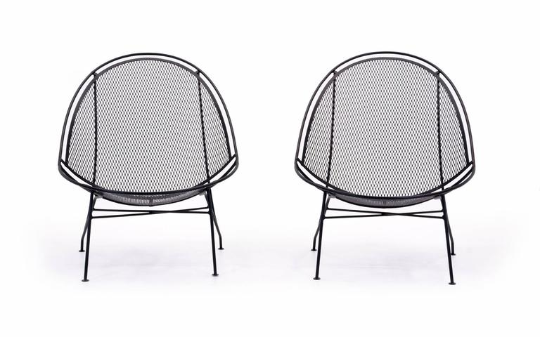 Mid-Century Modern Rare Pair of John Salterini Patio Chaise Lounge Chairs with removable footrests. For Sale