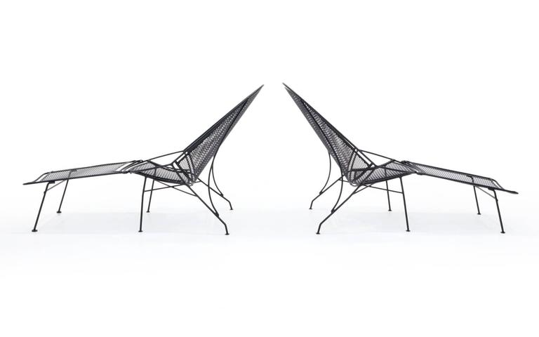 American Rare Pair of John Salterini Patio Chaise Lounge Chairs with removable footrests. For Sale