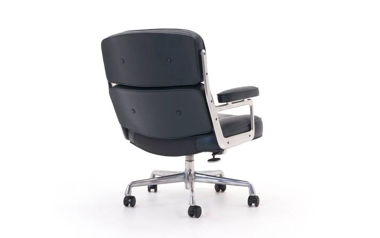 time life management desk chair deep blue gray leather at 1stdibs