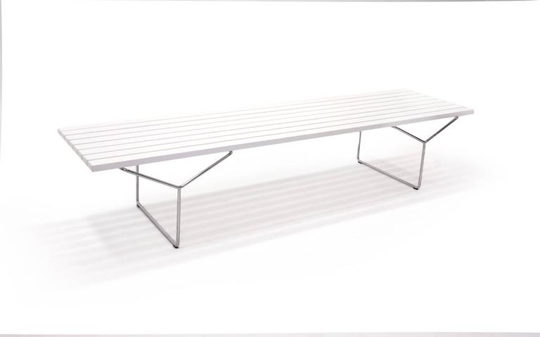 Original White Lacquered Ash Harry Bertoia Bench Or Table For Knoll - Bertoia coffee table