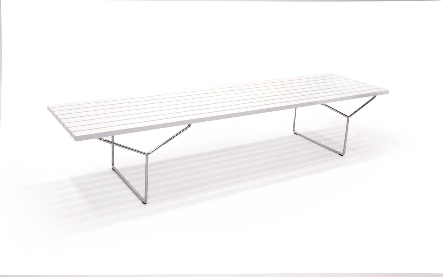 Original white lacquered ash harry bertoia bench or table for knoll at 1stdibs - Bertoia coffee table ...