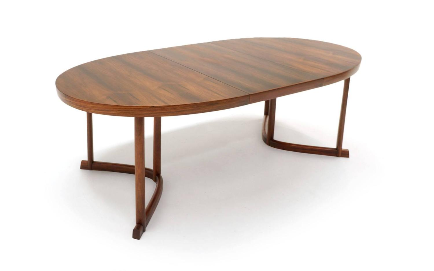 Danish modern rosewood dining table with leaf excellent for 5 foot dining room table