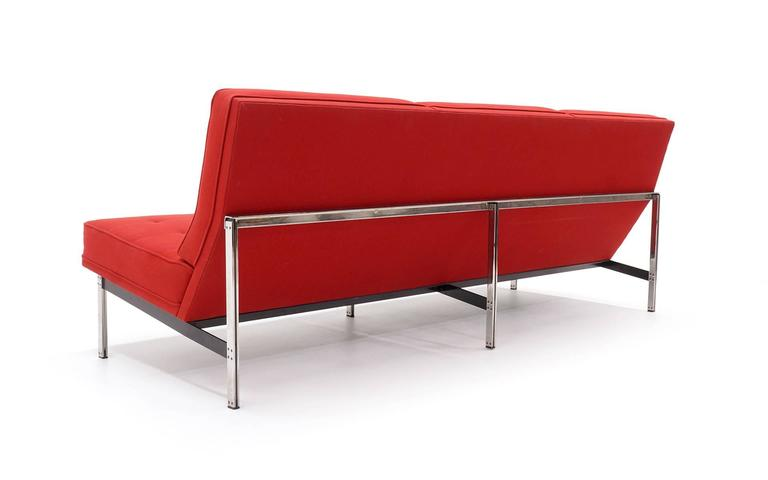 florence knoll parallel bar threeseat armless sofa red wool fabric 3