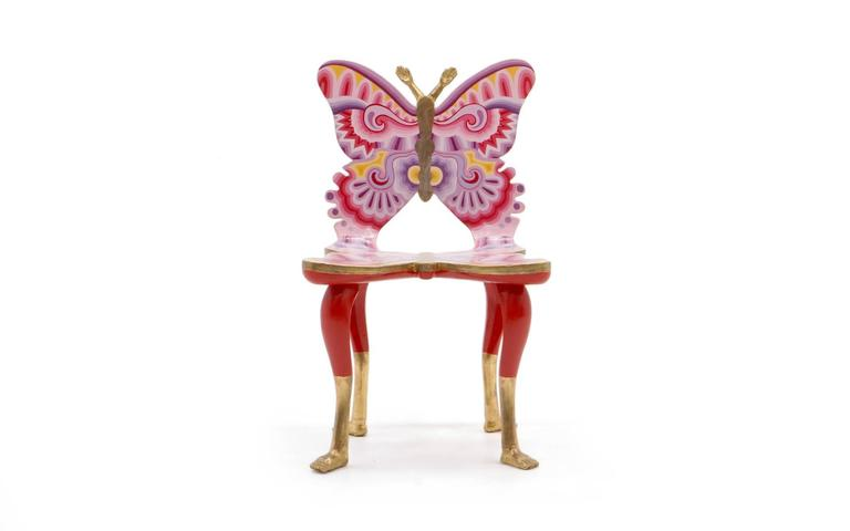 Authentic, signed hand-painted and gold leafed Pedro Friedeberg butterfly chair in excellent condition.