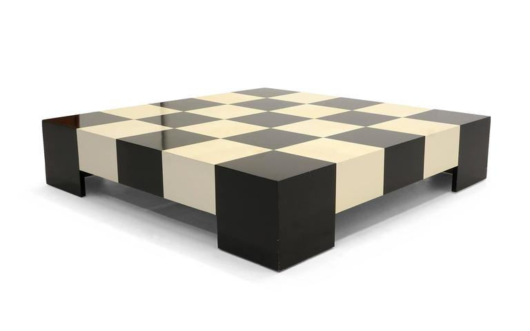 Mid Century Modern Large Square Black And White Checkerboard Coffee Table By Milo Baughman For