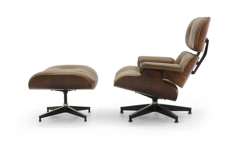 Eames Chair Leather special order, original khaki leather and rosewood eames lounge
