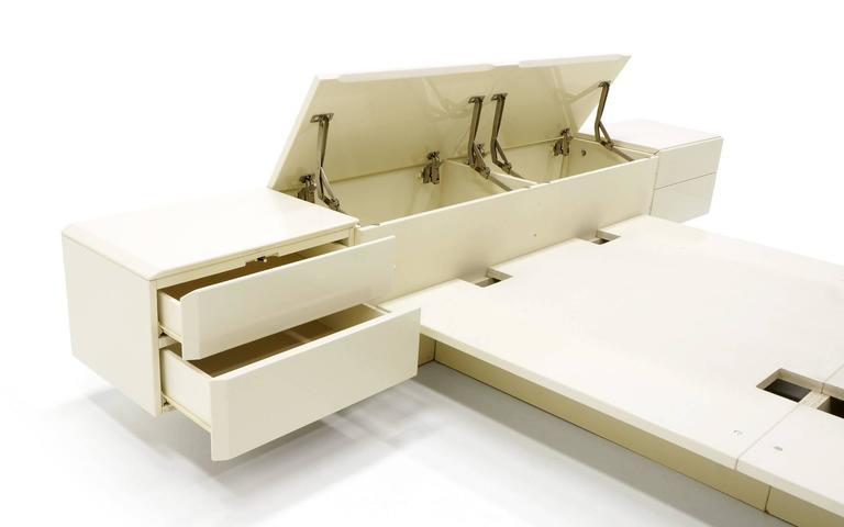 Mid Century Modern Queen Ivory Platform Bed With Attached Nightstands U0026  Headboard Storage, Rougier