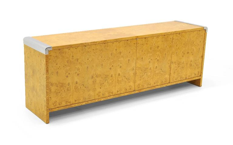 Milo Baughman Burl Wood Credenza With Chrome Trim