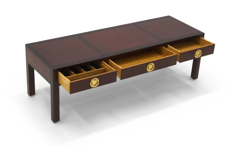 Mid-Century Modern Edward Wormley for Dunbar Two Tone Mahogany and Brass Coffee Table with Drawers For Sale