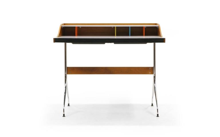 George nelson swag leg desk. This is the early, original production, not a reissue. Very good original condition, complete with drawers. Signed with applied metal disc manufacturer's label to interior: [Designed by George Nelson Herman Miller