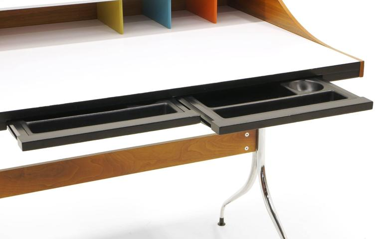 Laminate Original Production George Nelson and Associates Swaged Legged Desk For Sale
