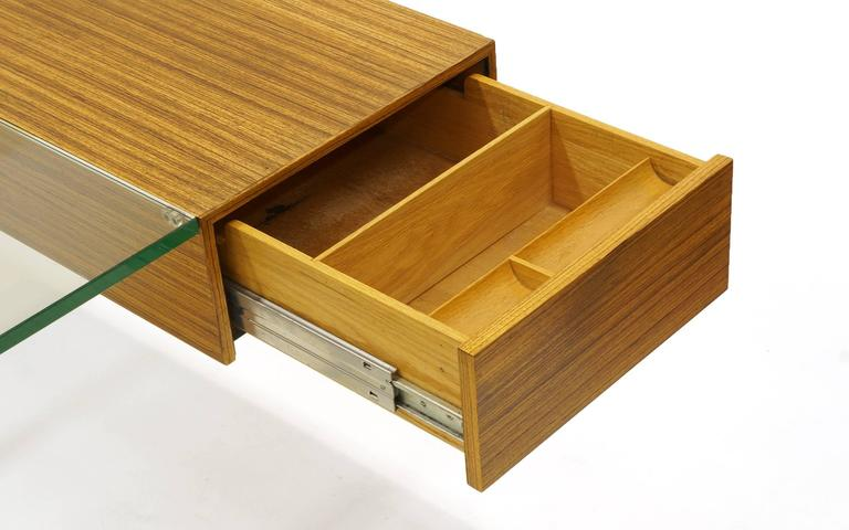 Vladimir Kagan Desk, Glass Top, Zebrawood, Brass colored Anodized Aluminium  6