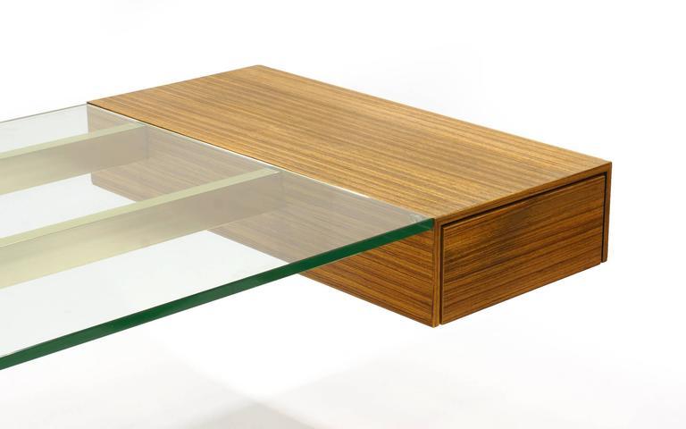 Vladimir Kagan Desk, Glass Top, Zebrawood, Brass colored Anodized Aluminium  5
