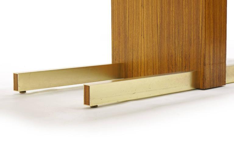 Vladimir Kagan Desk, Glass Top, Zebrawood, Brass colored Anodized Aluminium  9
