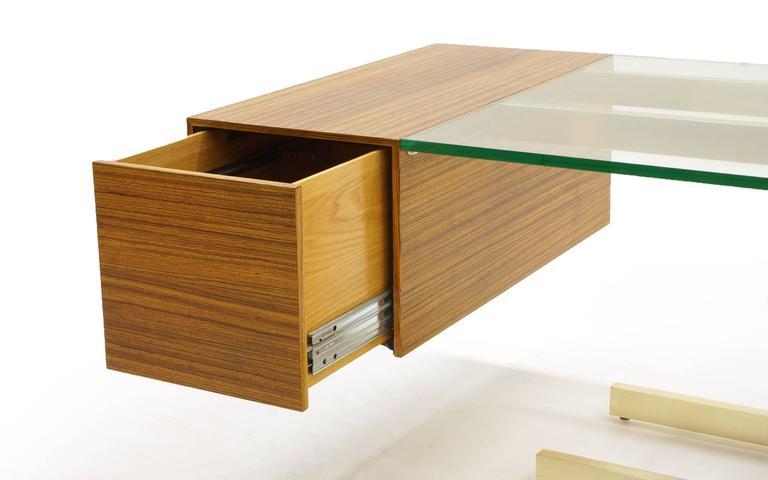 Vladimir Kagan Desk, Glass Top, Zebrawood, Brass colored Anodized Aluminium  7