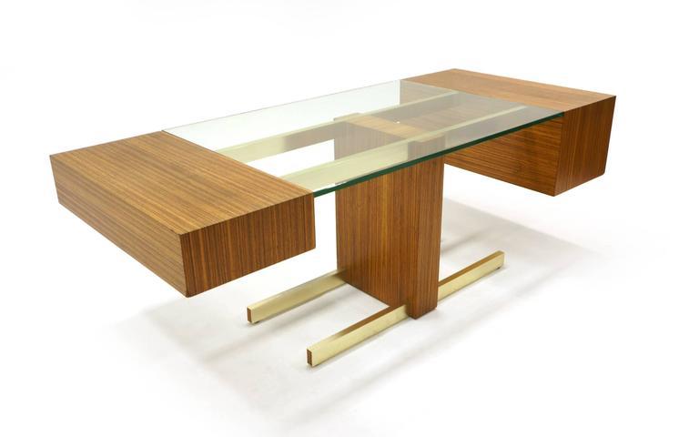 Vladimir Kagan Desk, Glass Top, Zebrawood, Brass colored Anodized Aluminium  4