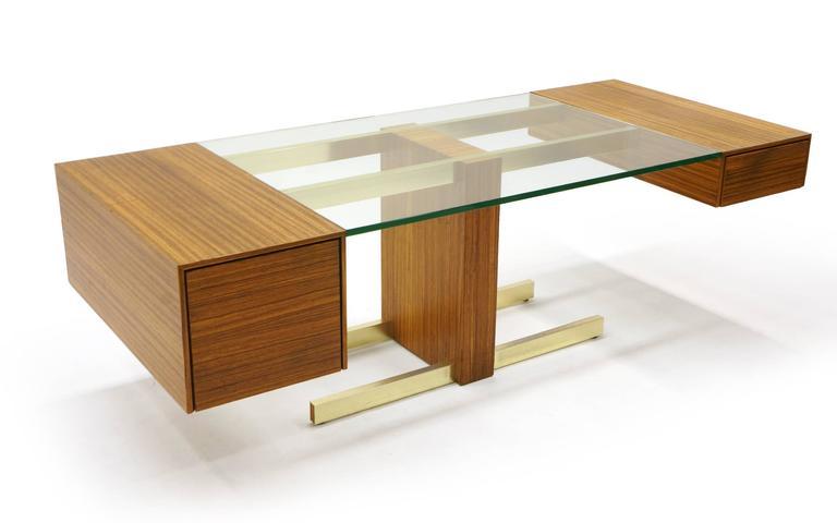 Vladimir Kagan Desk, Glass Top, Zebrawood, Brass colored Anodized Aluminium  2