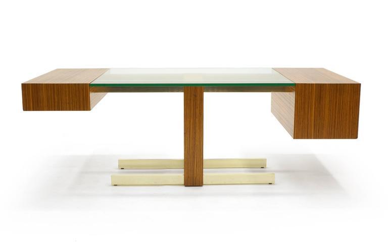 Vladimir Kagan Desk, Glass Top, Zebrawood, Brass colored Anodized Aluminium  3