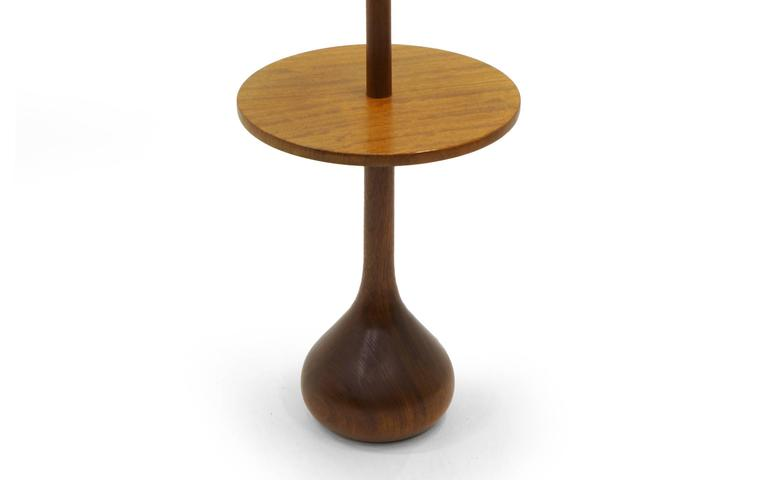 Danish Modern Solid Teak Floor Lamp With Attached End