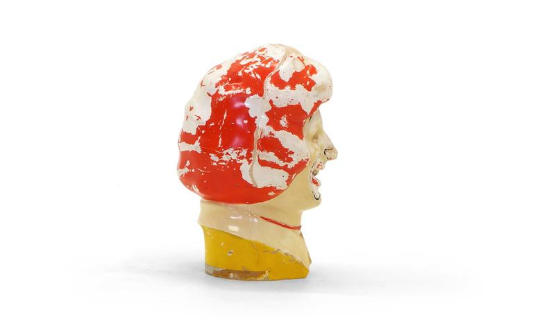 Mid-Century Modern Large Weird, Creepy, Perfectly Patinated Plastic Clown Head For Sale
