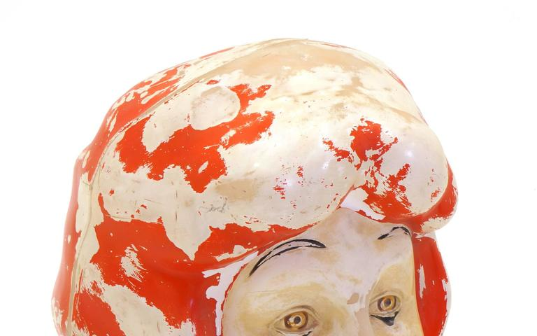 Mid-20th Century Large Weird, Creepy, Perfectly Patinated Plastic Clown Head For Sale