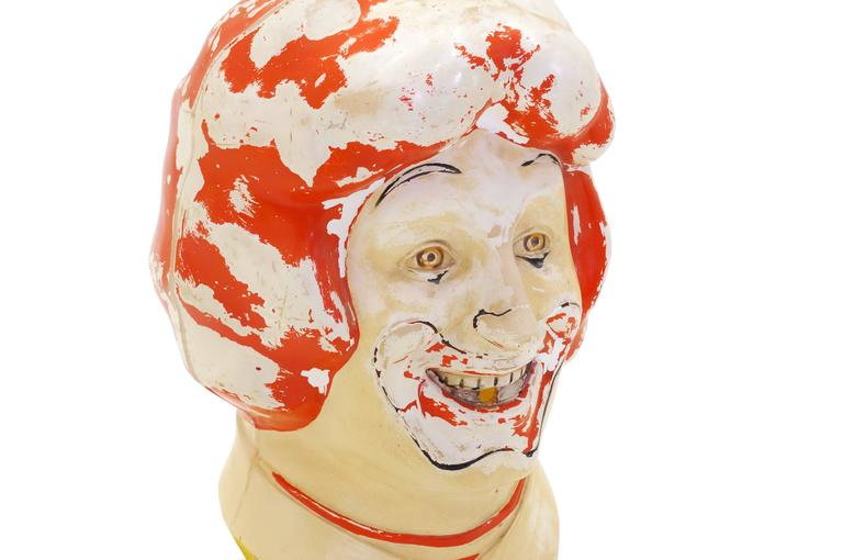 Large Weird, Creepy, Perfectly Patinated Plastic Clown Head In Distressed Condition For Sale In Kansas City, MO