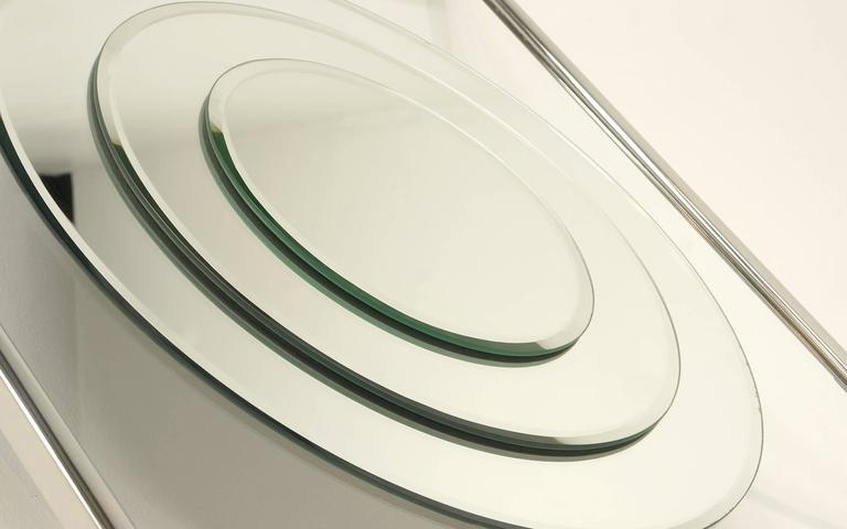 Wall Mirror Of Concentric Circles With Chrome Frame By The