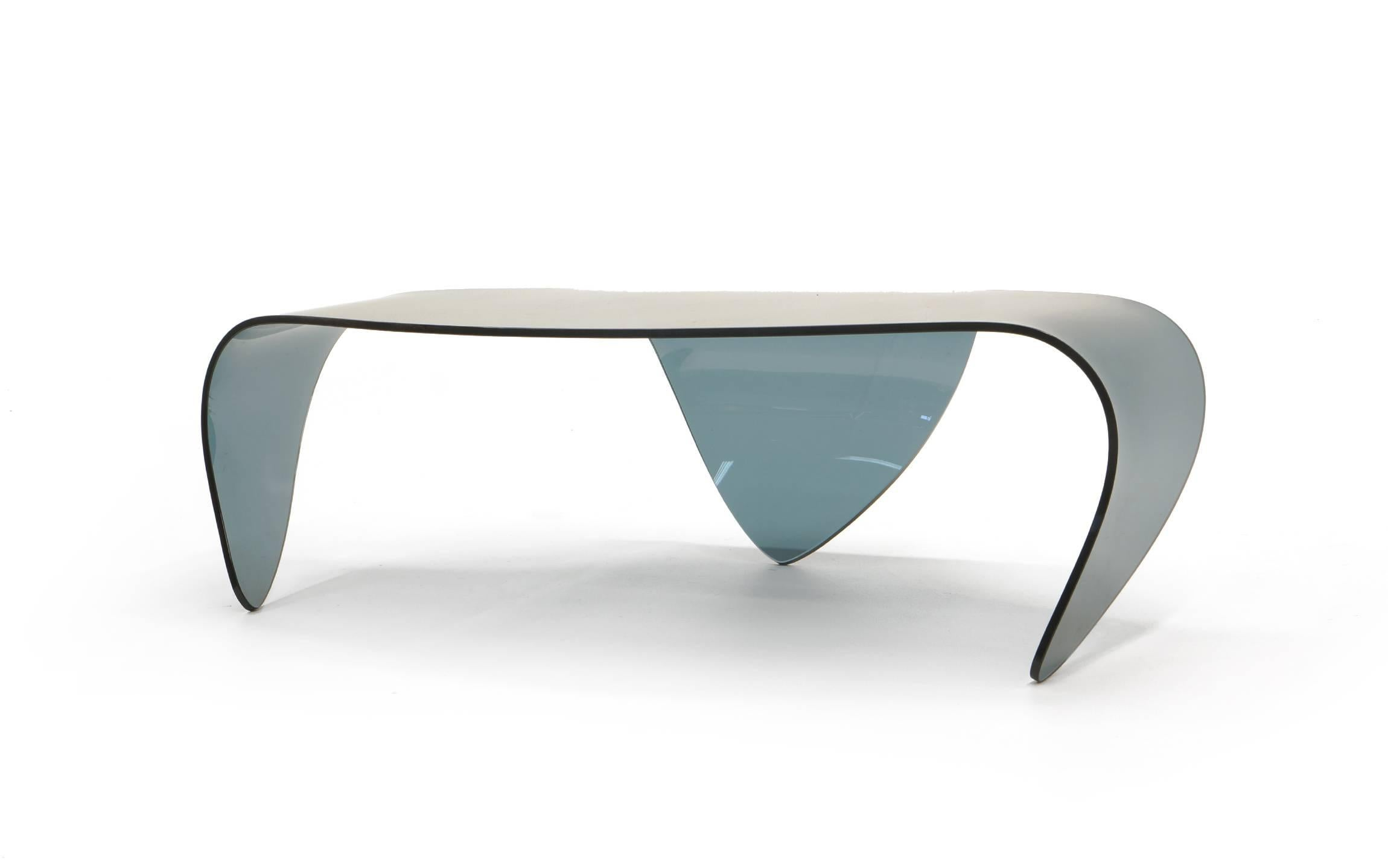 Glass form furniture Metal Modern All Glass Coffee Table Biomorphic Sculptural Bluegray Glass Form For Sale 1stdibs All Glass Coffee Table Biomorphic Sculptural Bluegray Glass Form