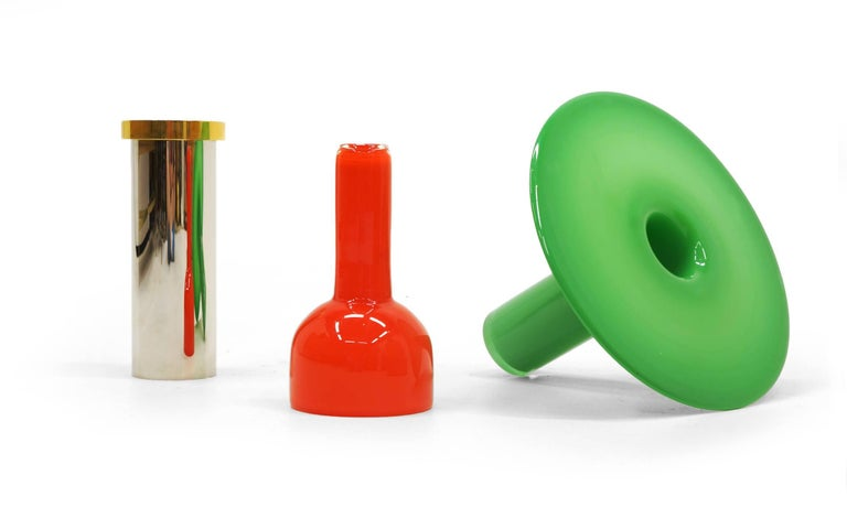 Late 20th Century Ettore Sottsass Vases from 27 Woods for a Chinese Artificial Flower For Sale