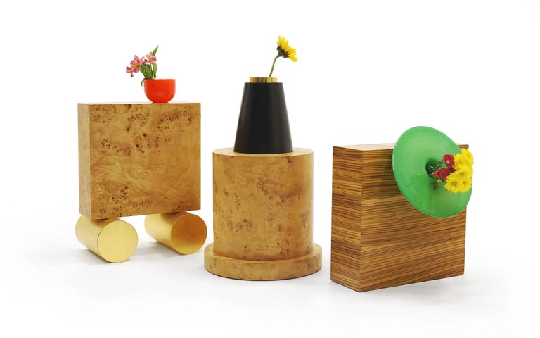 Two large vases by Ettore Sottsass from 27 woods for a Chinese Artificial flower. Edition S (red) is SOLD.  Each from the edition of 12. From left to right in our main photo, these are editions