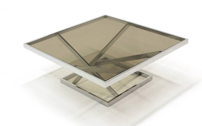 Mid-Century Modern Square Chrome and Smoked Gray Glass Coffee Table Attributed to Milo Baughman For Sale
