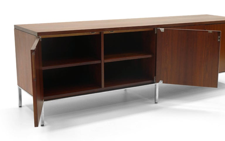 American Rosewood Credenza/Media Cabinet Designed by Florence Knoll, Excellent For Sale