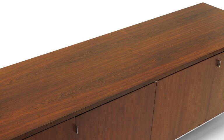Chrome Rosewood Credenza/Media Cabinet Designed by Florence Knoll, Excellent For Sale
