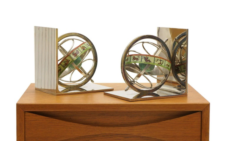 Pair of revolving world / signs of the Zodiac bookends in excellent condition. Made in Italy label.