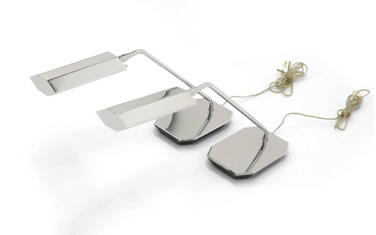 Mid-Century Modern Pair of Koch and Lowy Table or Desk Lamps Chrome For Sale